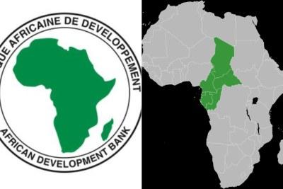 Logo de la BAD à gauche et la carte de la zone CEMAC à droite