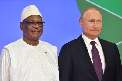 President of Mali Ibrahim Boubacar Keita, left, and Russia's President Vladimir Putin during the official welcoming ceremony for the heads of state and government participating in the 2019 Russia-Africa Summit in Sochi, Russia, 23 October 2019.