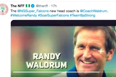 Randy Waldrum named Super Falcons coach (screenshot).