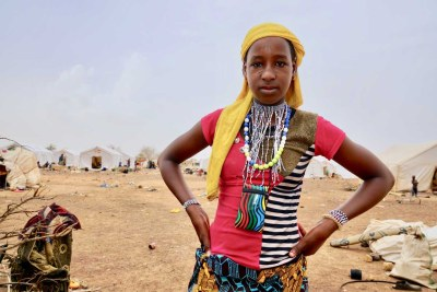 A young resident at a UN-supported settlement in Barsologho in the north of Burkina Faso.