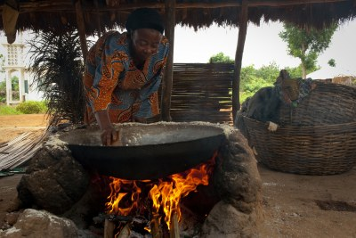 Felicienne Soton produces gari (cassawa flour) in Adjegounle in Benin.
