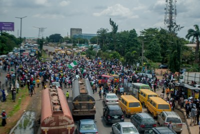 An #EndSARS protest in Lagos, Nigeria