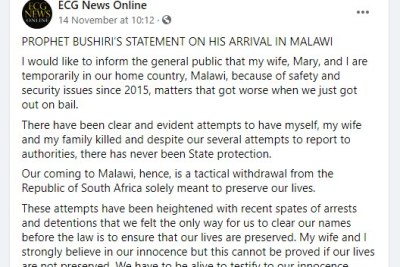 A statement by Shepherd Bushiri on the Facebook page of the Enlightened Christian Gathering Church.