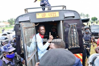 NUP presidential candidate Robert Kyagulanyi, popularly known as Bobi Wine, reacts after his arrest in Luuka District on November 18, 2020.