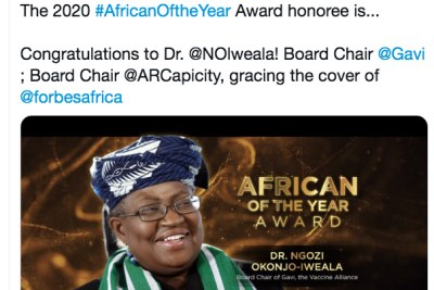 Okonjo-Iweala named Forbes Africa of The Year 2020.