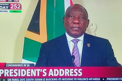 President Cyril Ramaphosa addresses the nation on December 3, 2020.