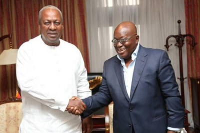 President @NAkufoAddo and Opposition Leader @JDMahama signing the Presidential Elections Peace Pact