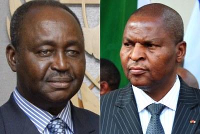 L'ex-président de la RCA François Bozizé (g.) et le président sortant Faustin-Archange Touadera