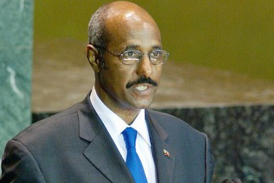 Former Ethiopian foreign minister Seyoum Mesfin addressing the United Nations General Assembly in 2003.