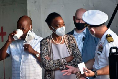 Kenya's Defence Cabinet Secretary Monica Juma (centre) with Director General, Kenya Coast Guard, Vincent Naisho Loonena (left) during a tour inside a U.S. Naval Ship which is deployed along the Eastern Coast of Africa to provide Maritime Security.