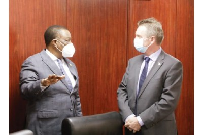 Vice President Constantino Chiwenga speaks to European Union Ambassador to Zimbabwe Timo Olkkonen in Harare.