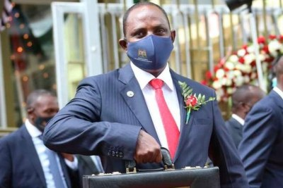 National Treasury Cabinet Secretary Ukur Yatani on his way to Parliament to present the budget statement (file photo).