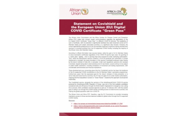 """Africa: Statement on Covishield and the European Union (EU) Digital COVID Certificate """"Green Pass"""" thumbnail"""