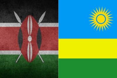 From left, Kenya and Rwanda flags.
