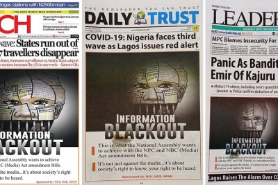 Nigerian newspapers join in protest against proposed government restrictions.