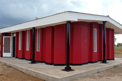 The new 3D-printed school in Salima, made of concrete placed layer by layer through a computer-controlled nozzle, in central Malawi, June 18, 2021.
