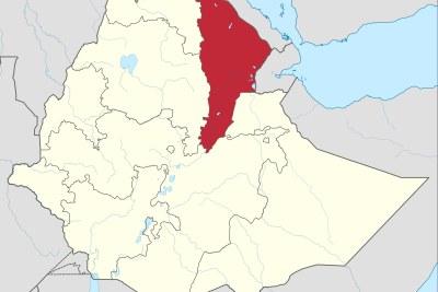 Une carte montrant la région Afar en Ethiopie.