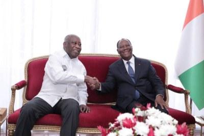Alassane Ouattara a reçu, ce mardi 27 juillet 2021, l'ex-président Laurent Gbagbo