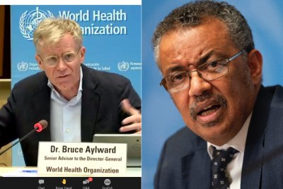 Dr. Bruce Aylward and WHO Director General Dr. Tedros Adhanom Ghebreyesus.