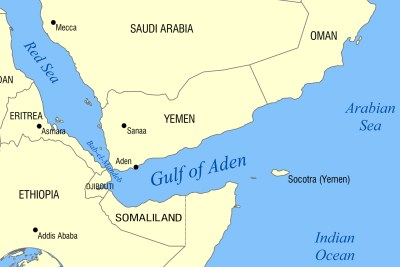 Map showing the location of Yemen, the Red Sea and East African countries.