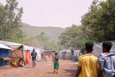 A school-turned-IDP site in Shire in Ethiopia's Tigray Region hosts thousands of internally displaced persons.