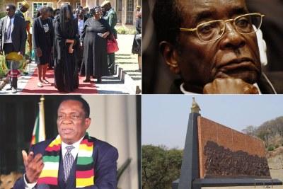 Late president Robert Mugabe, top right, President Emmerson Mnangagwa, bottom left, Heroes Acre, bottom right.