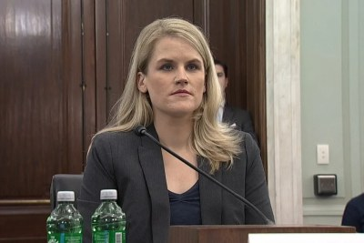 Frances Haugen, a former Facebook product manager, testifies on October 5, 2021 (file photo).